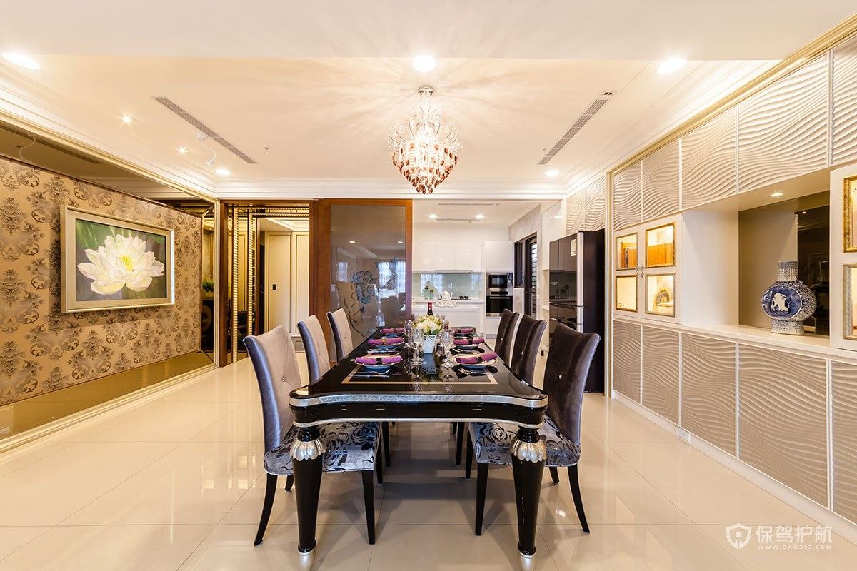 古典歐式大平層四居室餐廳裝修效果圖…
