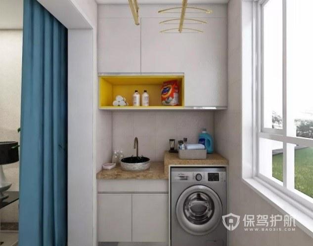 简约原木风封闭式阳台洗衣机柜装修效果图