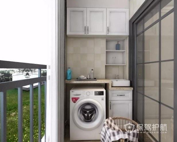 简约阳台创意洗衣机实木柜装修效果图