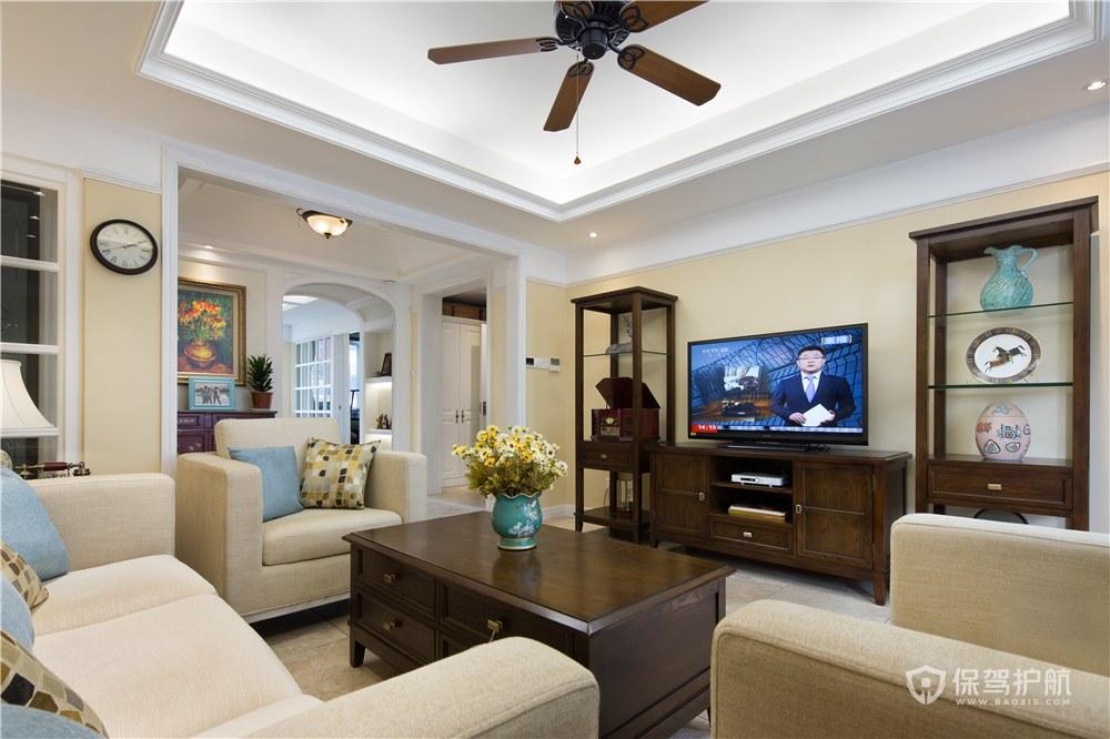 110平美式三房客廳裝修效果圖