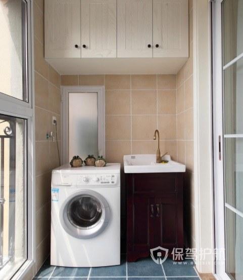 现代宜家风阳台洗衣机柜创意装修效果图