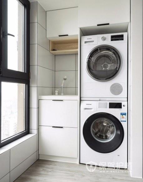 简约创意封闭式阳台洗衣机实木柜装修效果图