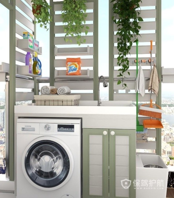 简约田园风创意阳台洗衣机柜装修效果图