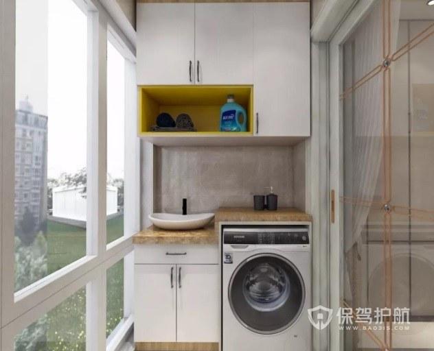 宜家原木风封闭式阳台创意洗衣机柜装修效果图