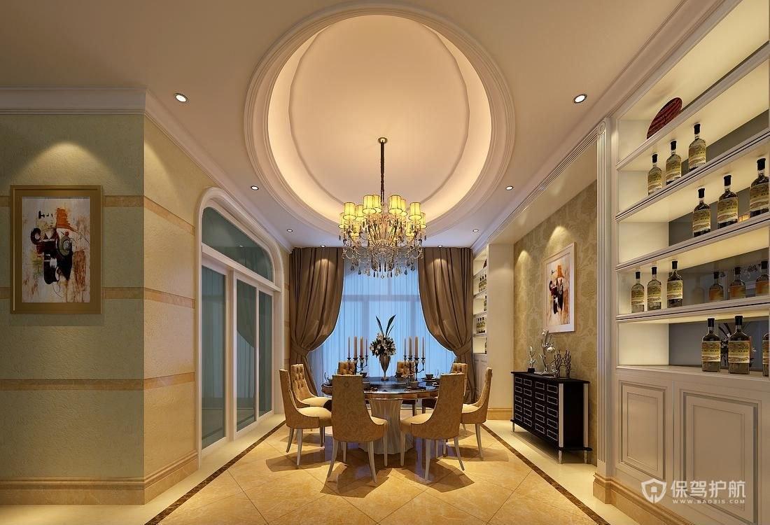 160平歐式三居室餐廳吊頂裝修效果圖…