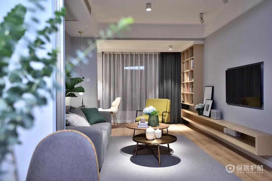 70平簡約北歐風兩居室客廳裝修效果圖…