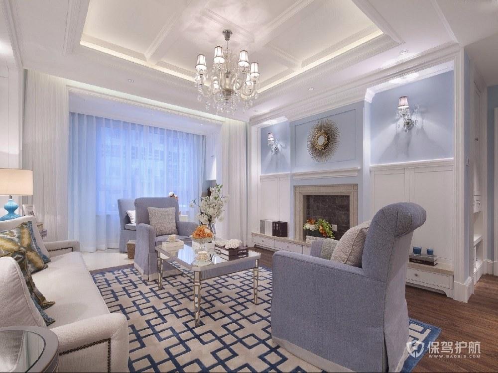 簡歐風公寓客廳裝修效果圖