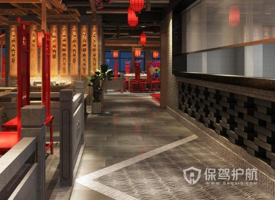 230平米中式風格火鍋店走廊裝修效果…
