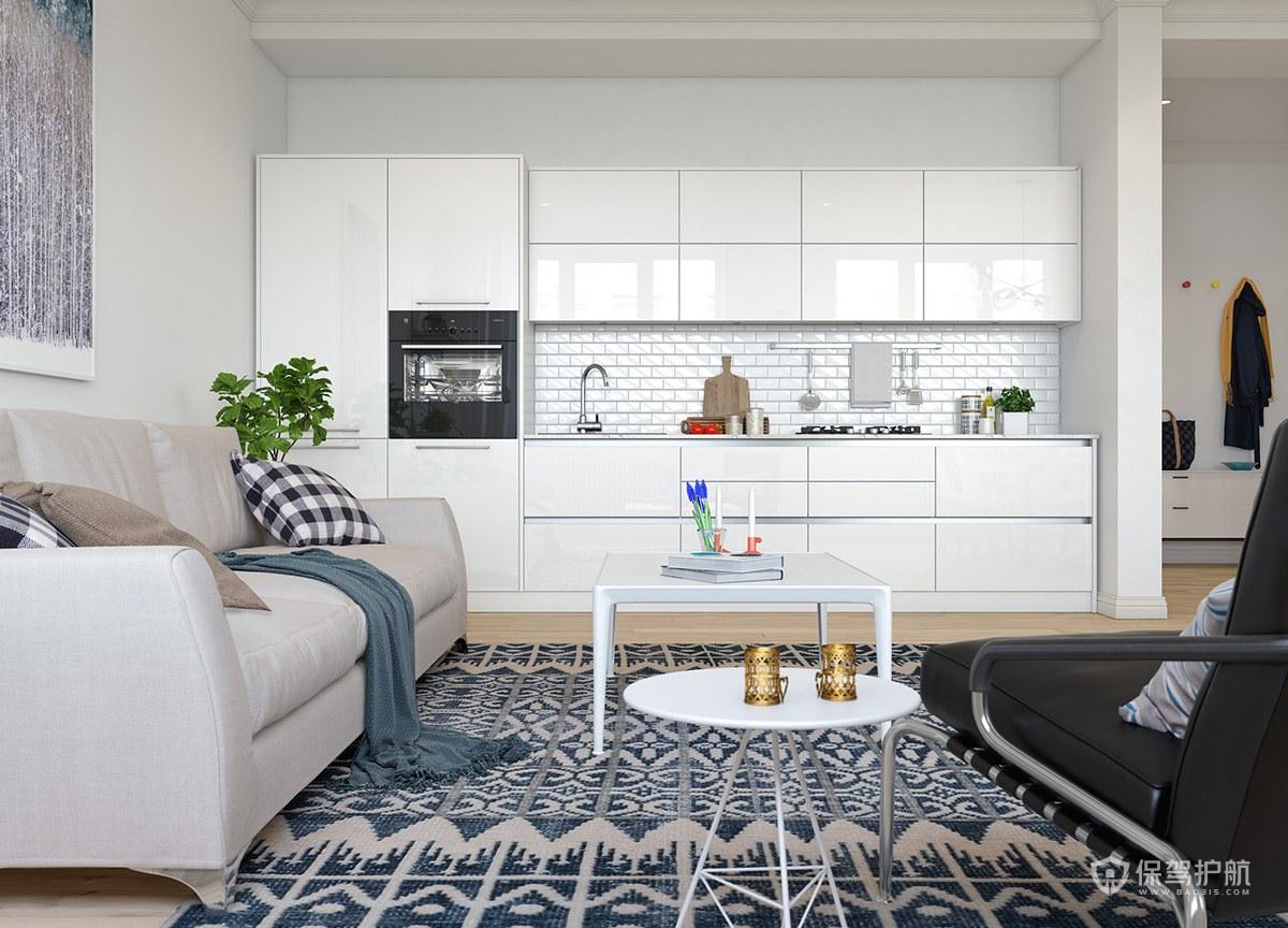北欧风单身公寓小客厅装修效果图