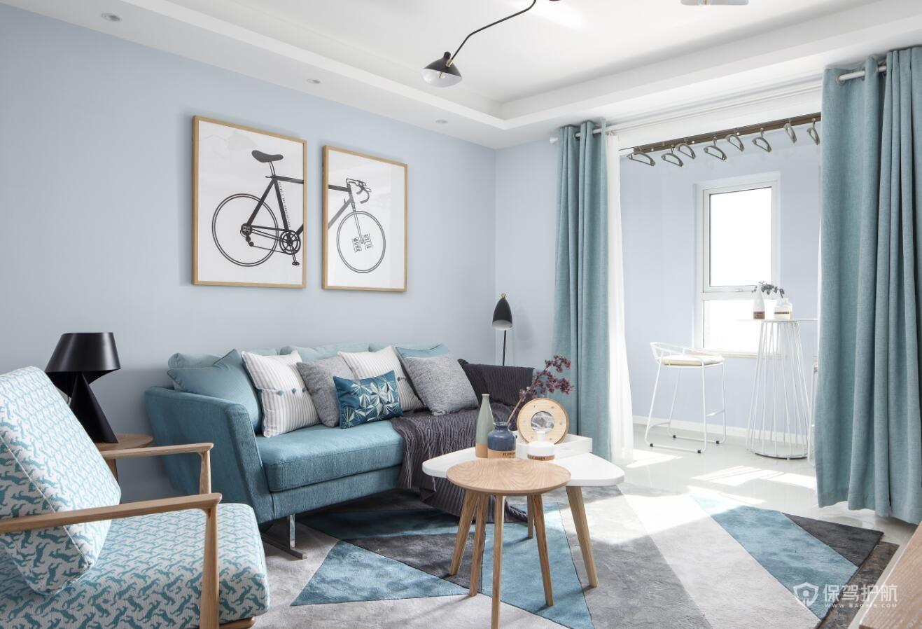 60平清爽北欧风二居室客厅装修效果图…