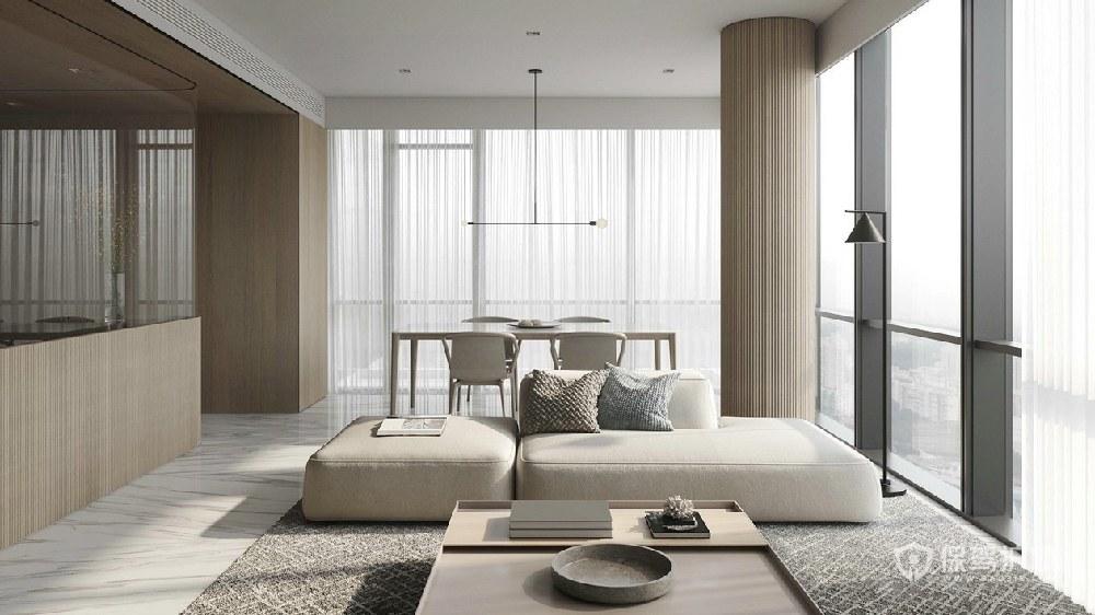 現代極簡風四居室客廳裝修效果圖