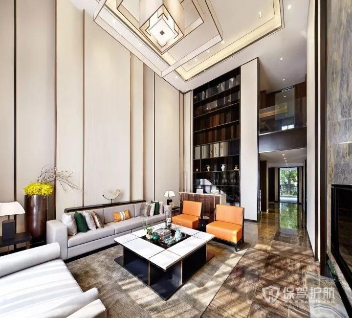 簡約新中式躍層樓客廳裝修效果圖