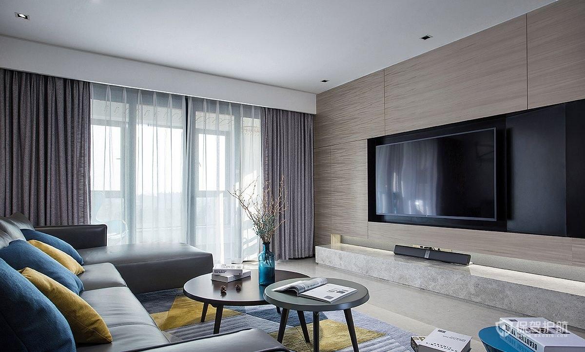 現代風格二居室客廳電視墻裝修效果圖…
