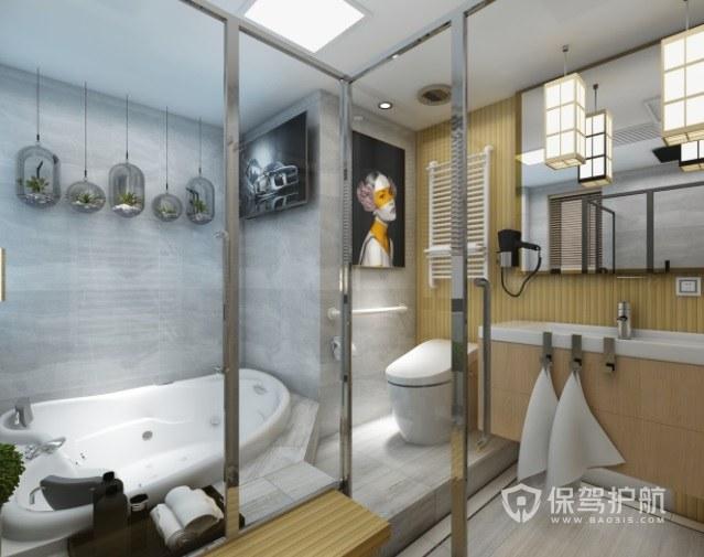 日式復古輕奢風衛生間裝飾畫裝修效果圖