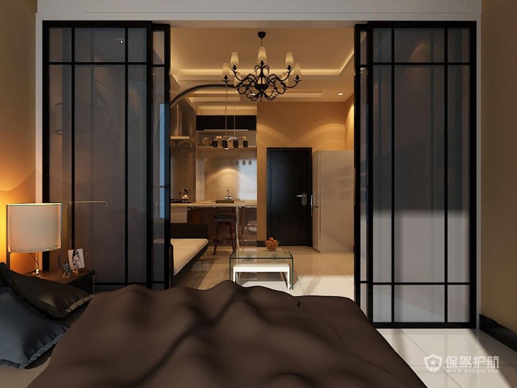 现代风格单身公寓卧室推拉门装修效果…
