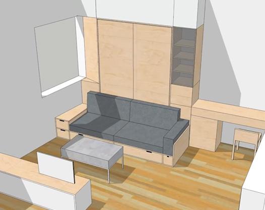 迷你公寓 把兩用沙發床收在墻壁上
