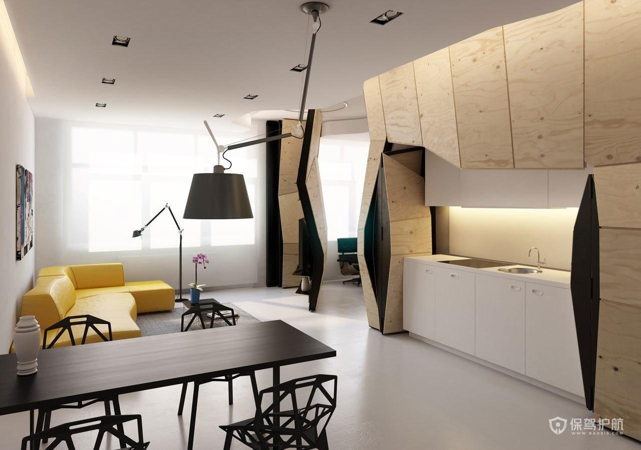 日式简约风单身公寓餐厅装修效果图