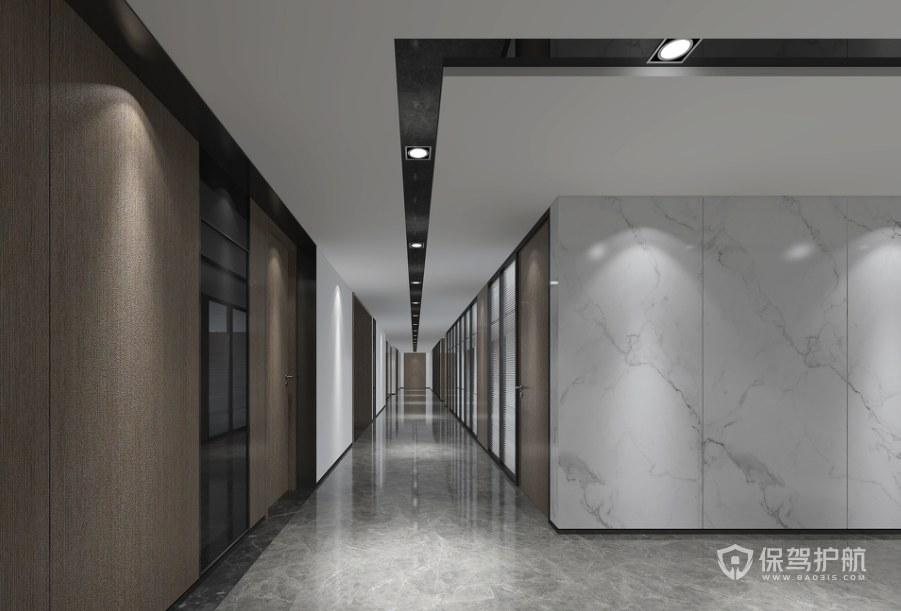 极简风格办公室走廊装修效果图