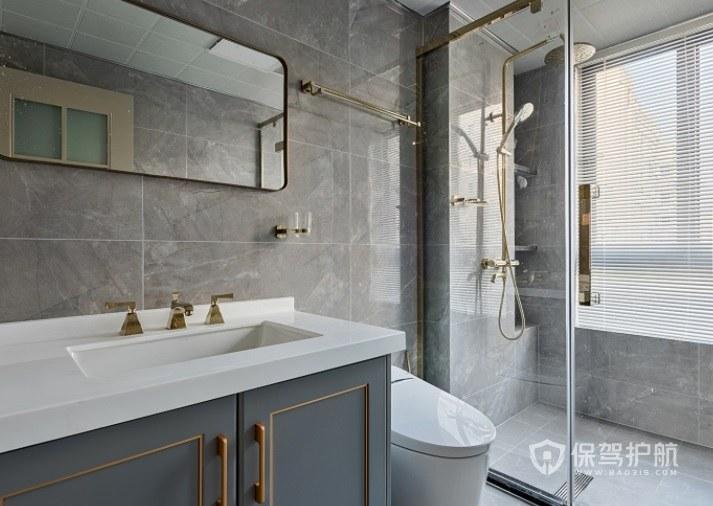 簡歐輕奢風衛生間霧霾藍浴室柜裝修效果圖