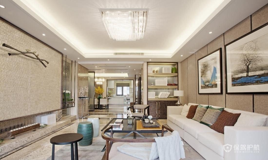 160平新中式四居室客廳裝修效果圖