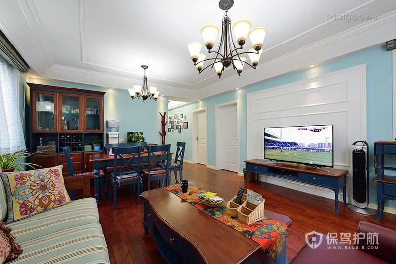 100平地中海風格二居室客廳裝修效果…