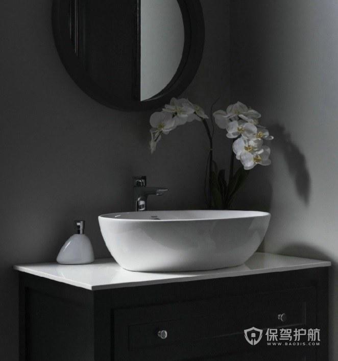 小户型极简复古风卫生间黑白洗手台装修效果图