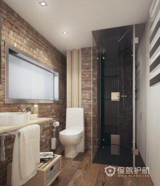 小户型工业文艺风卫生间红色墙砖装修效果图