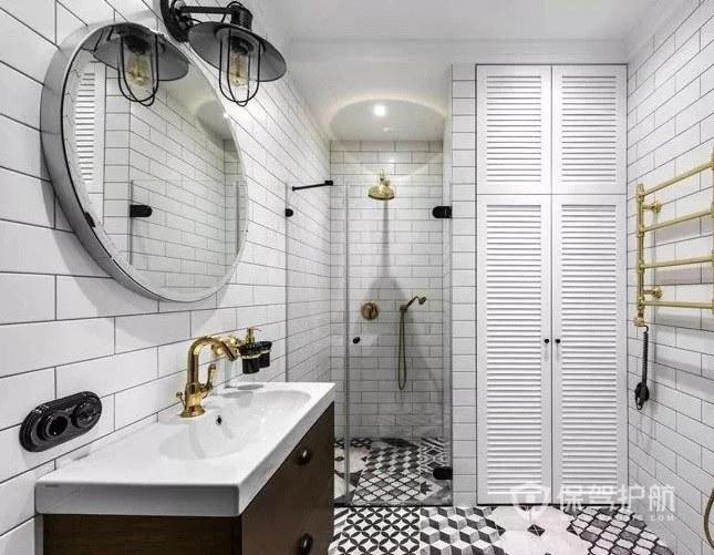 小户型简约风灰色系卫生间创意浴室镜装修效果图