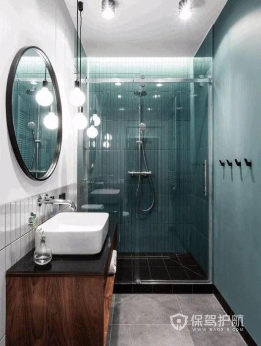 小户型卫生间实木浴室柜搭配白色台盆装修效果图