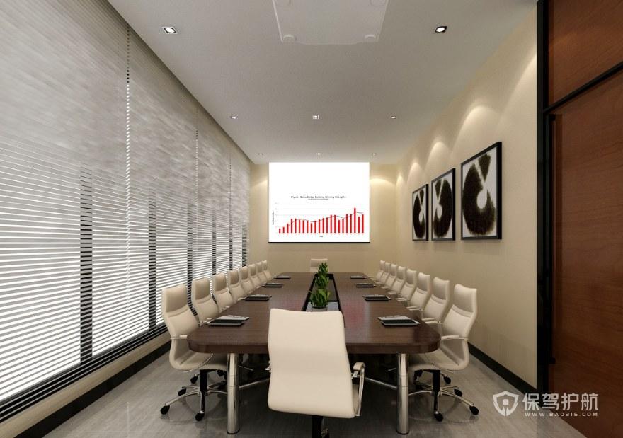 簡約中式辦公會議室裝修效果圖
