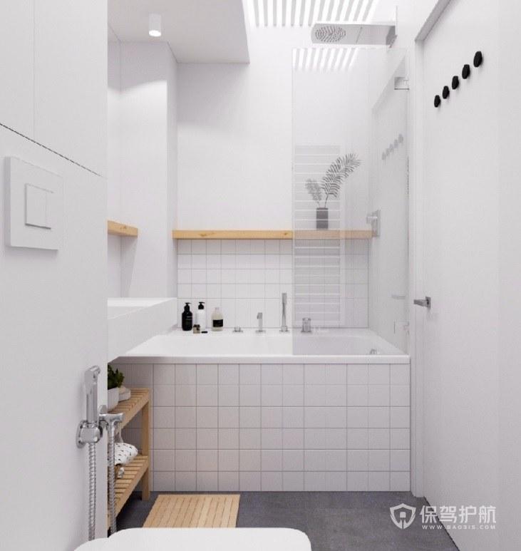 日式小清新风小户型卫生间浴缸装修效果图