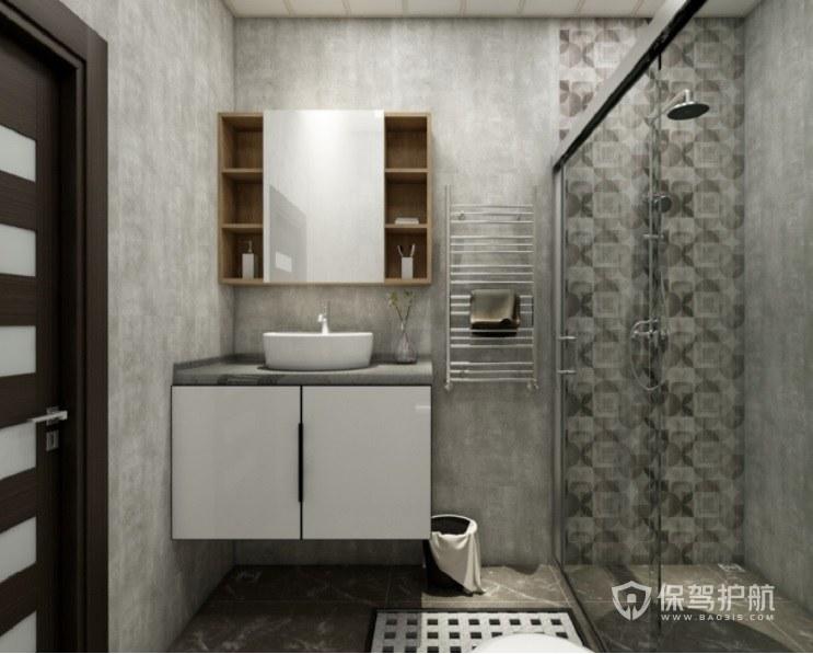 小户型复古工业风创意卫生间水泥墙面装修效果图