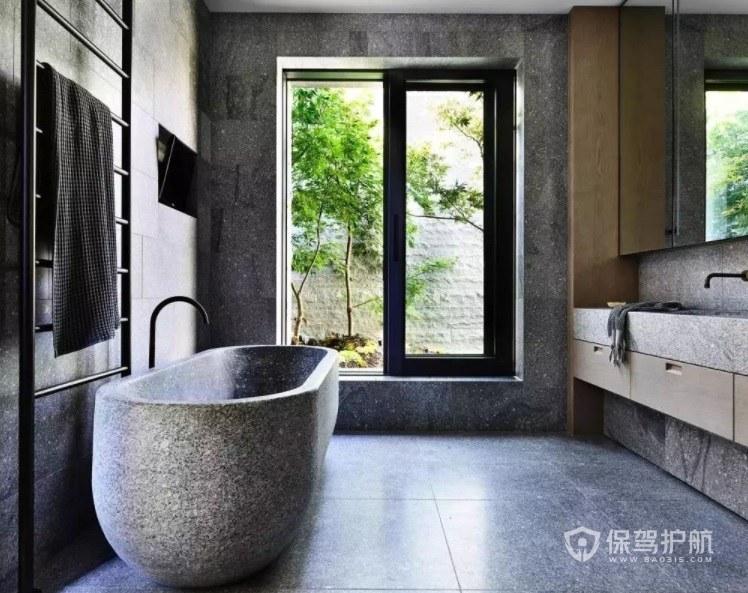 禅意复古工业风卫生间石制浴缸装修效果图