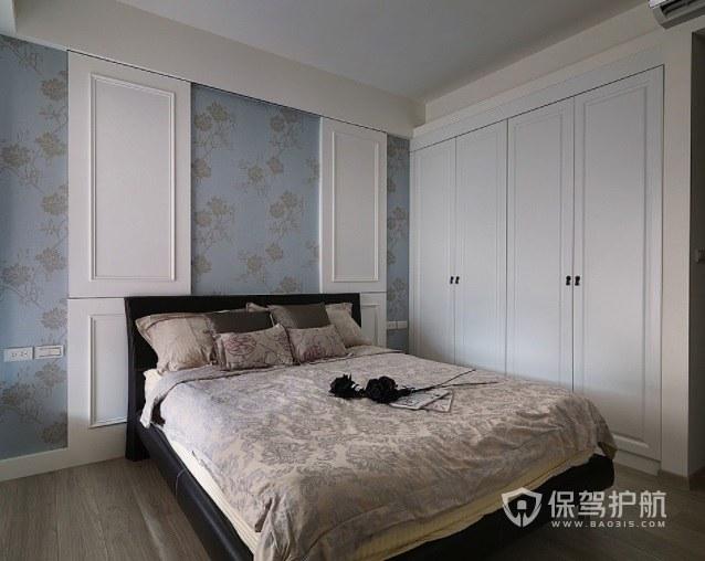新中式輕奢風臥室淺藍色墻紙裝修效果圖