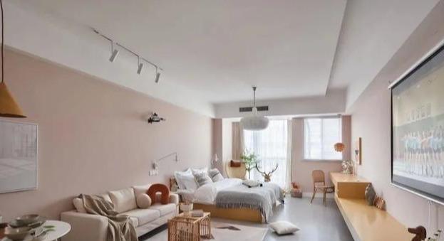 曬曬!45㎡小資房裝修效果圖,浪漫暖橘色+藤編家具,超治愈