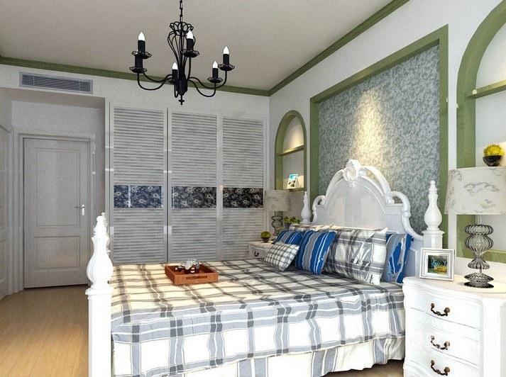 地中海混搭田园风卧室背景墙装修效果图
