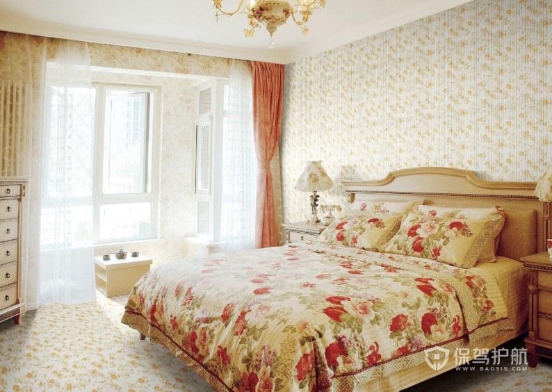 欧式复古田园风卧室大红碎花窗帘装修效果图