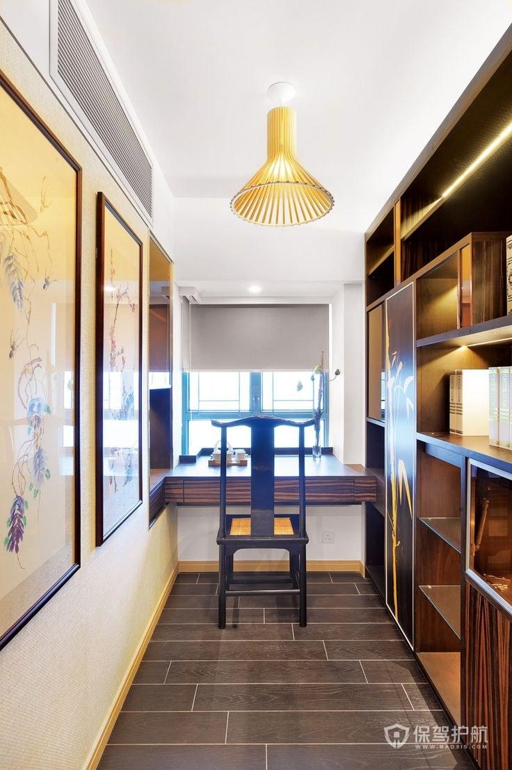 中式风格三室两厅书房装修效果图