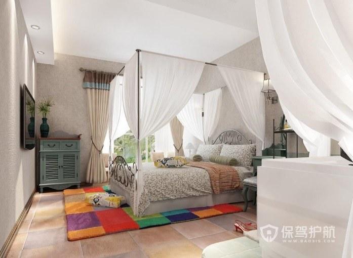 东南亚简约度假风卧室床帘装修效果图