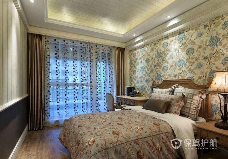 中式古典田园风卧室碎花壁纸装修效果图