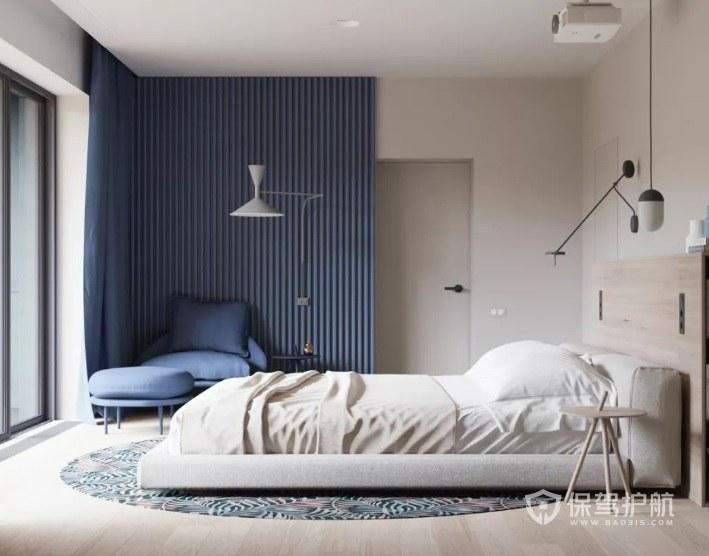 日式簡約小清新風臥室藍色窗簾裝修效果圖