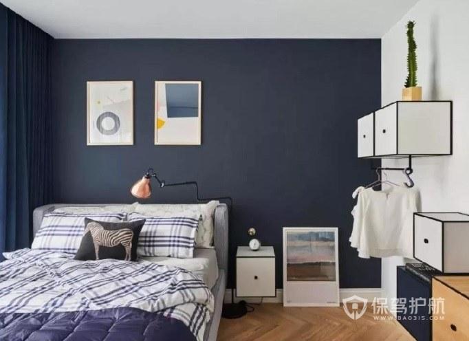 ins简欧风卧室蓝色墙面装修效果图
