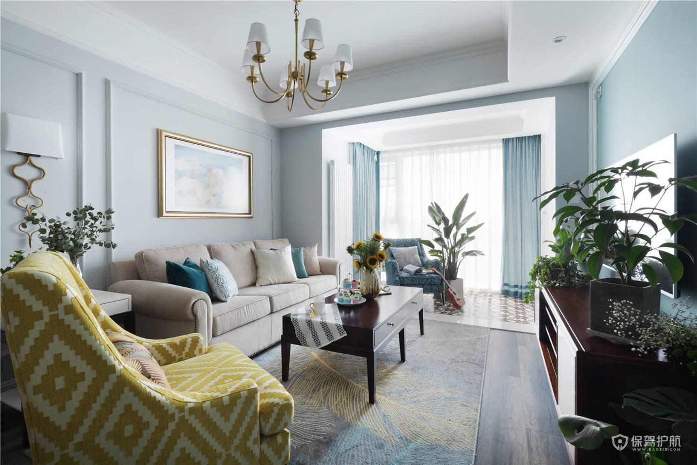 清新美式两房客厅装修效果图