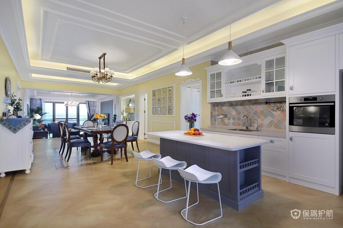 簡約美式風格三居室廚房裝修效果圖
