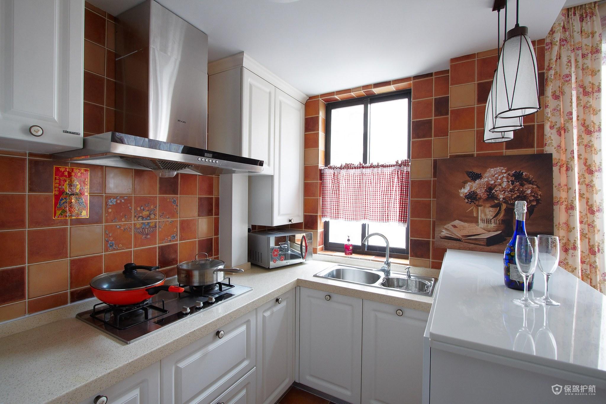 90平美式田园风二居室厨房装修效果图…
