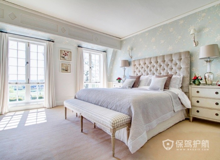 簡歐溫馨少女風臥室墻面壁紙裝修效果…