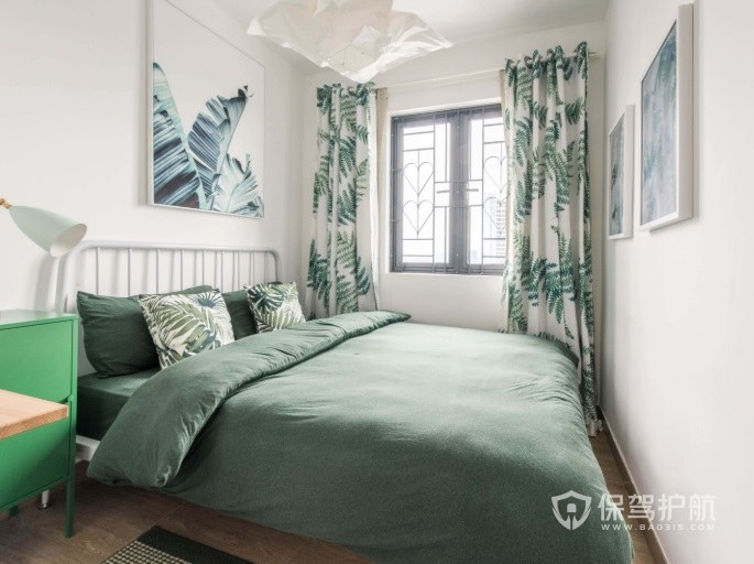 ins森系风少女卧室窗帘设计效果图