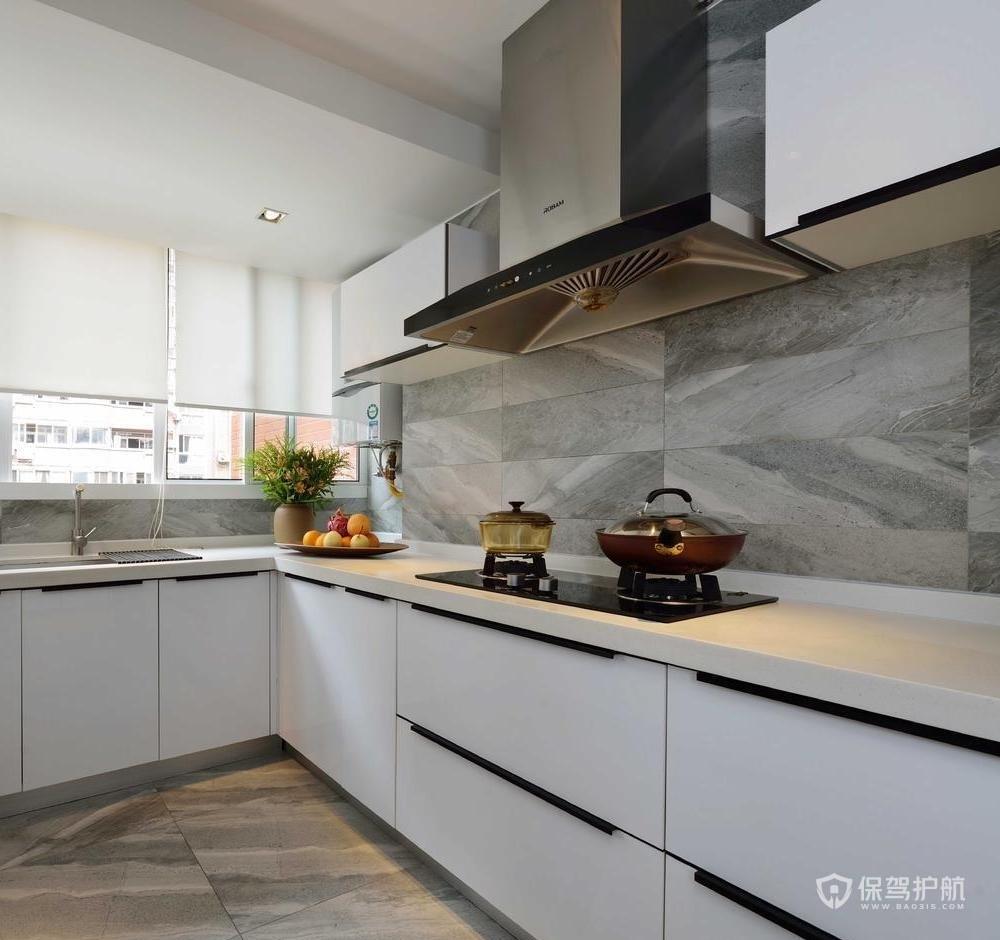 奢华美式三房厨房大理石装修效果图