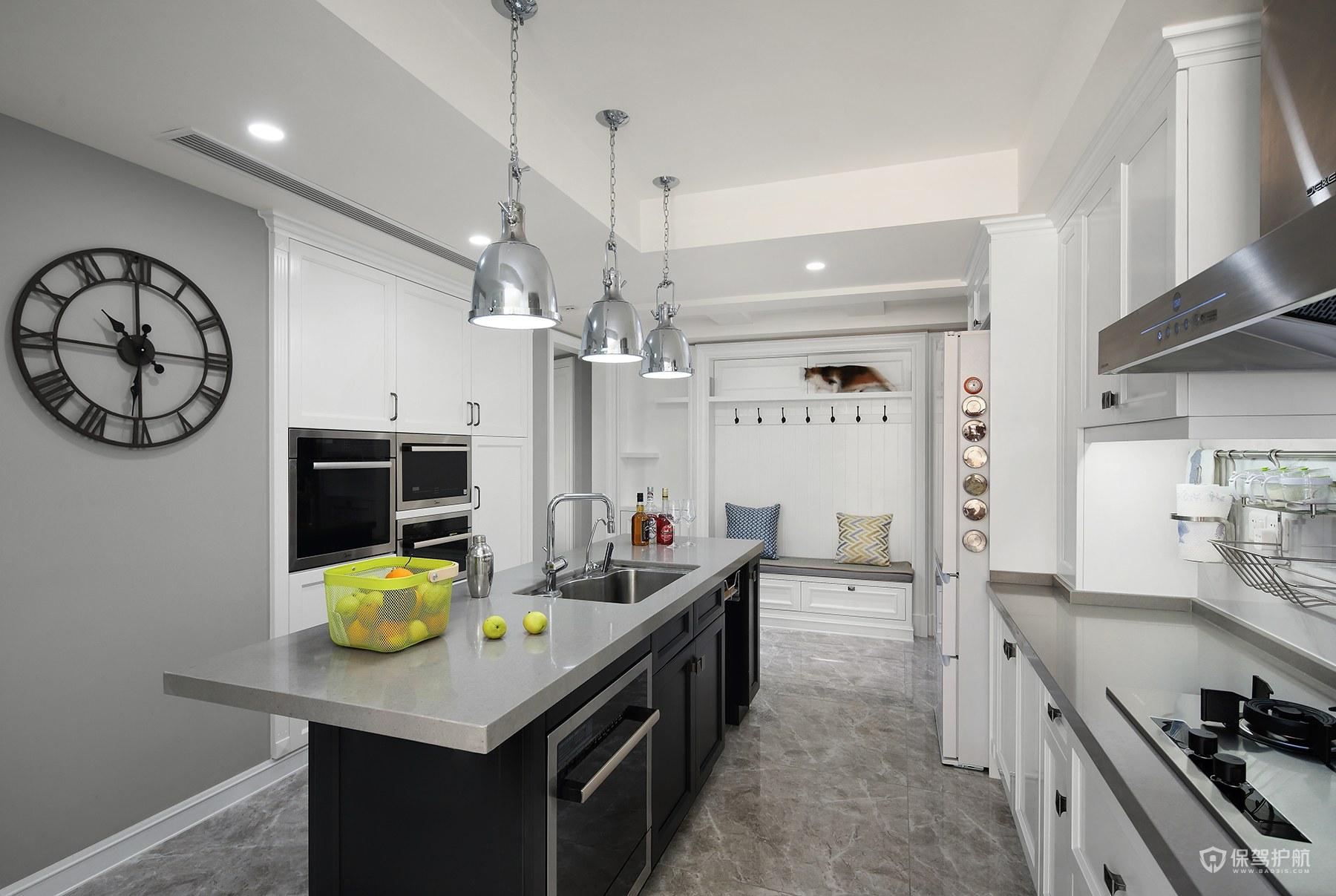 現代簡約美式風格四居室廚房裝修效果…