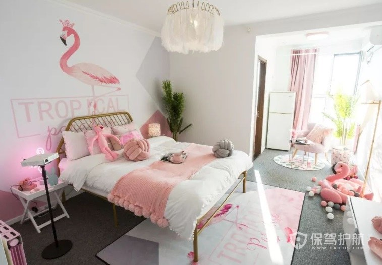 ins少女温馨风卧室粉色调装修效果图